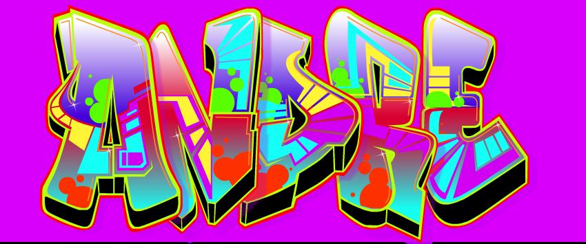 membuat grafiti dengan nama sendiri