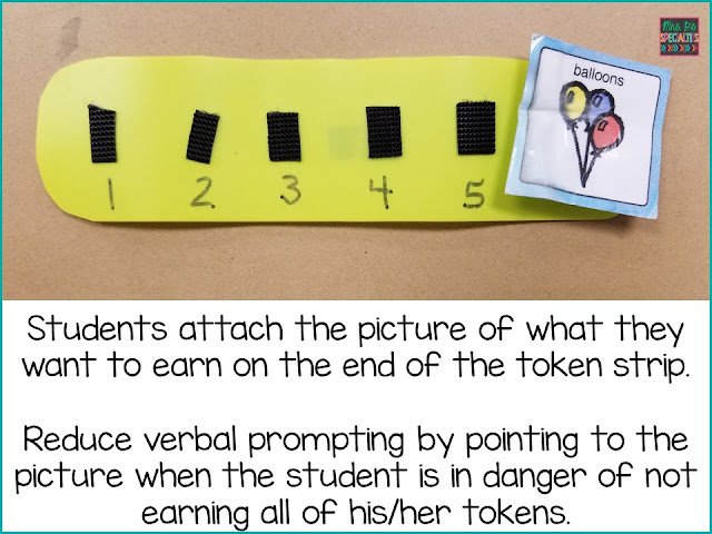 Token economy strip with visual of the reinforcer the student is working for. Pointing to the reinforcer as a reminder of what to the students to remain on task is quick and effective.