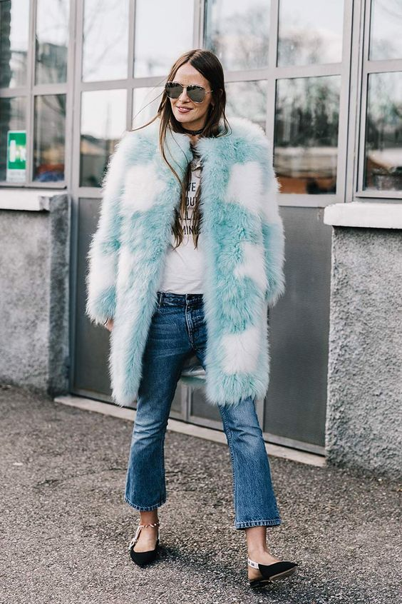 Colored fake fur street style