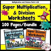 multiplication and division worksheets bundled