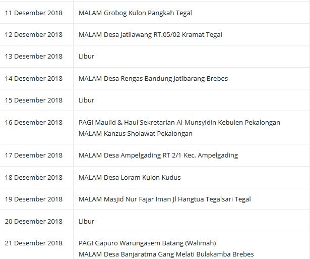 Jadwal Al Munsyidin Bulan Desember 2018