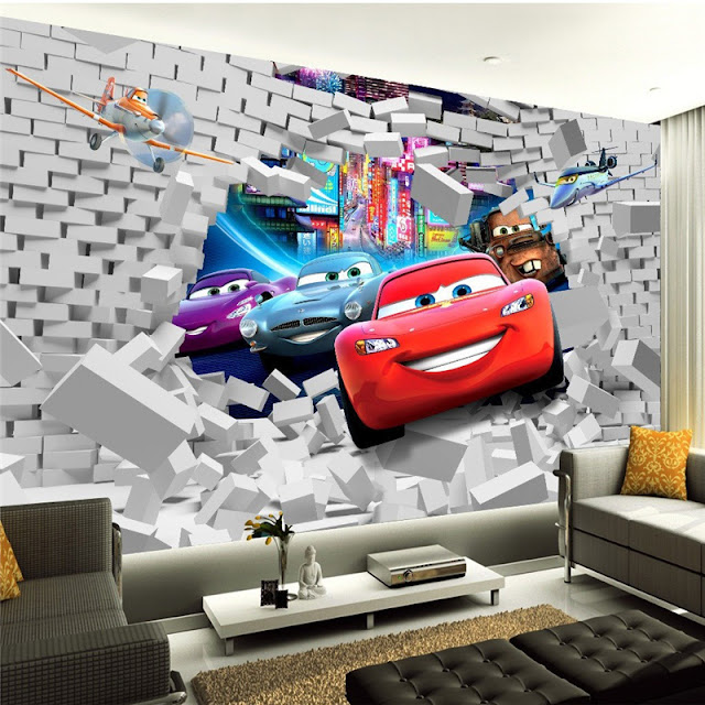 Disney Cars Wall Mural 3D Wallpaper Sticker Cars planes Brick Wall breaking through wall children room kids bedroom cool