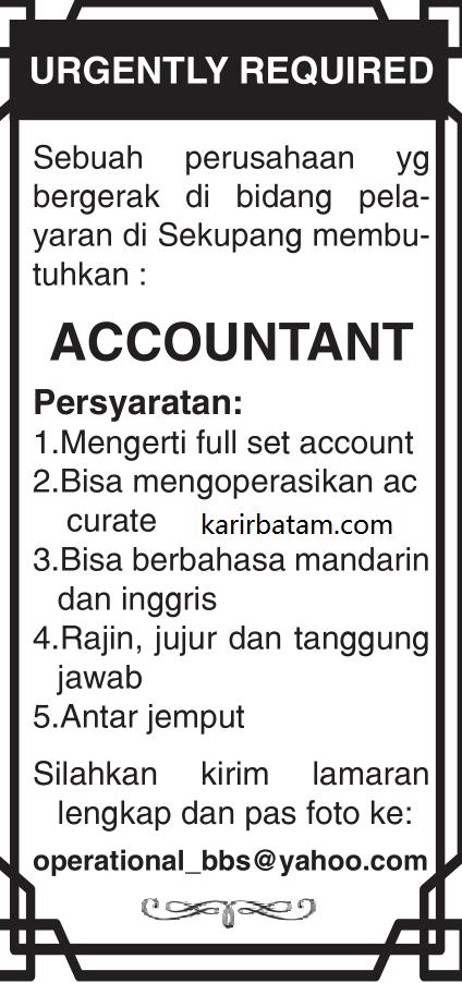Lowongan Kerja Accountant Lulusan SMA di Sekupang