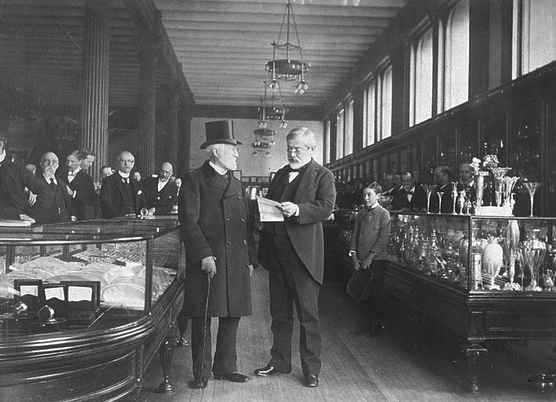 625d34539 Charles Lewis Tiffany and staff in his New York store in 1887. That looks  like Andrew Carnagie in the top hat. Could the thrifty Scott actually be  buying a ...