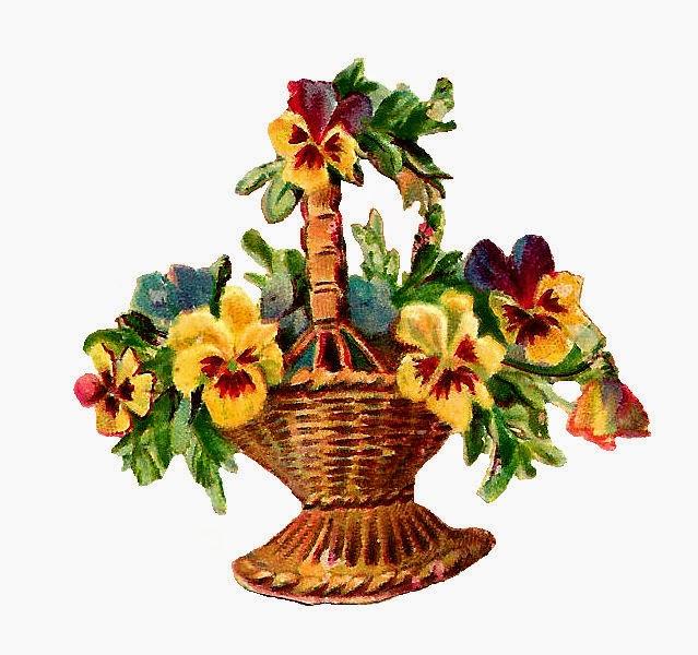 Antique Images: Free Vintage Digital Flower Basket Clip ...