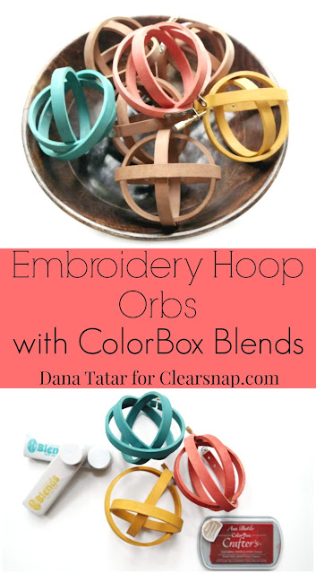 Wood Embroidery Hoop Orbs Stained with ColorBox Blends Tutorial by Dana Tatar