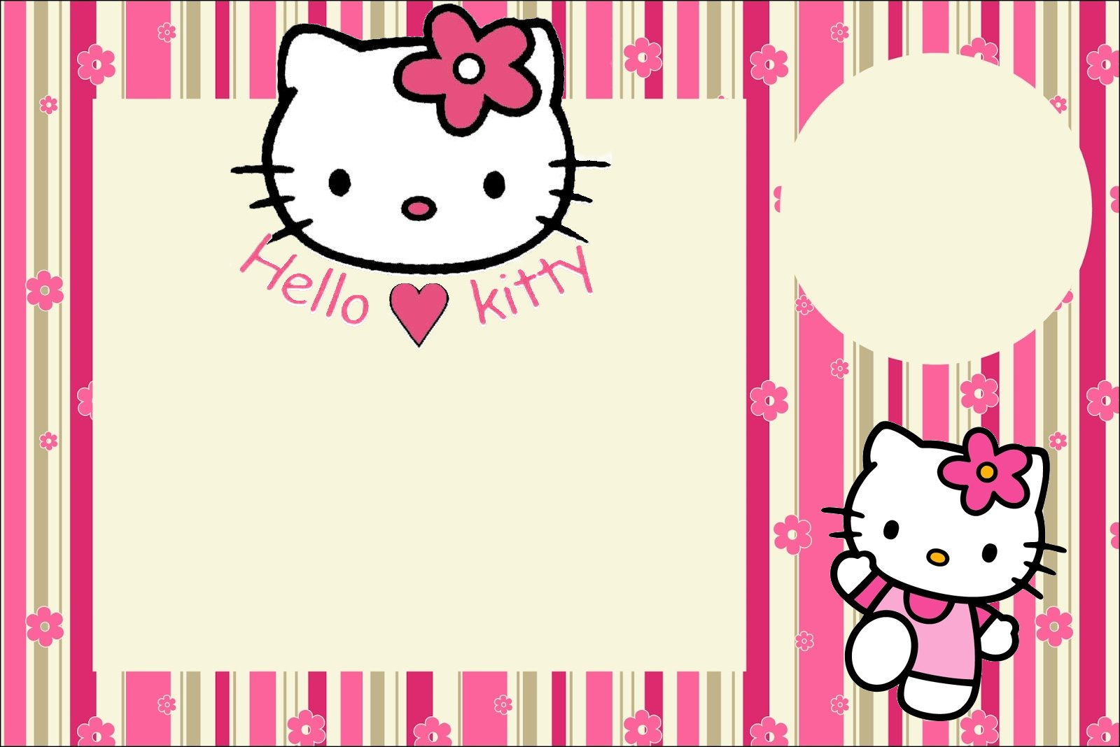 Hello Kitty With Flowers Free Printable Invitations Oh My Fiesta