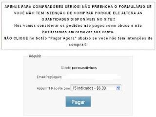 Página para compra de referidos do PTC IlhaBux