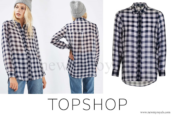 Kate Middleton wore Topshop Gingham Print Shirt