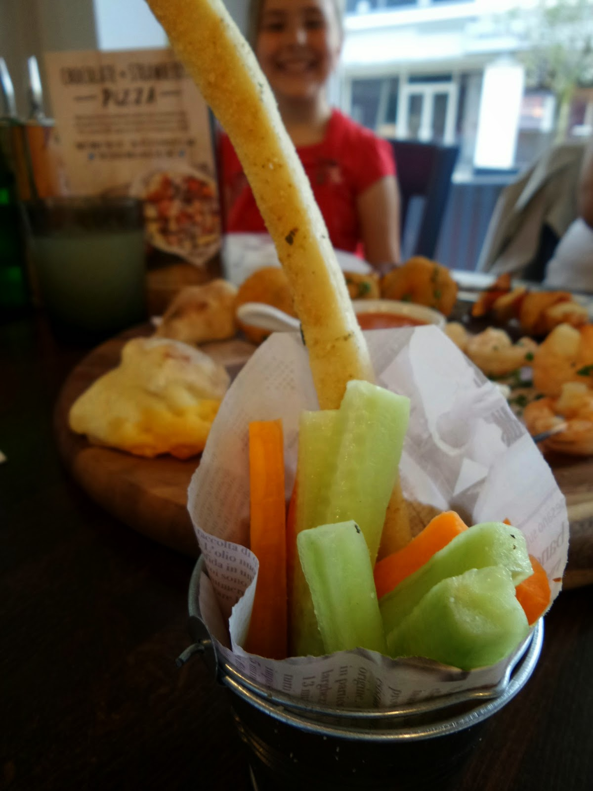 Top Ender and the Zizzi Bambini Starter of Carrots, Cucumber and Dough Stick
