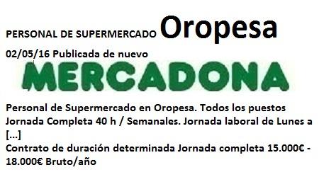 Lanzadera de Empleo Virtual Castellón, Oferta Mercadona Oropesa
