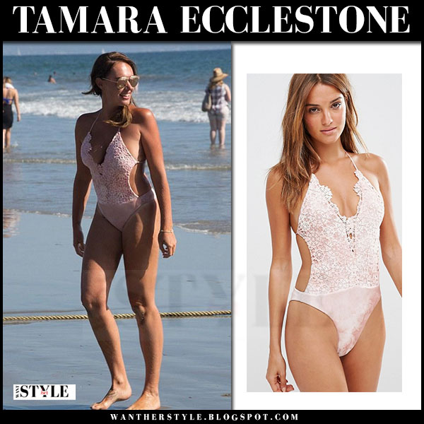 Tamara Ecclestone in pink one piece swimsuit blue life desert mirage what she wore