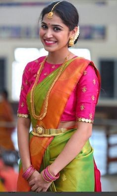 c44c01060d39c Coin work pattu saree blouse designs are quiet in vogue and it easily  glorifies the beauty of a silk saree adding a very classic charm to it.