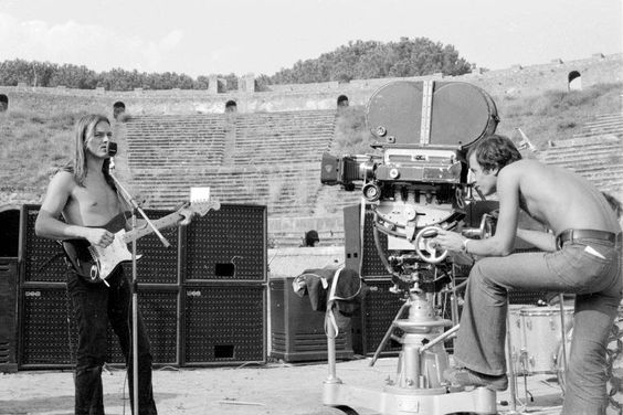 David Gilmour and Adrian Maben recording (Pink Floyd - Live at Pompeii), 1971