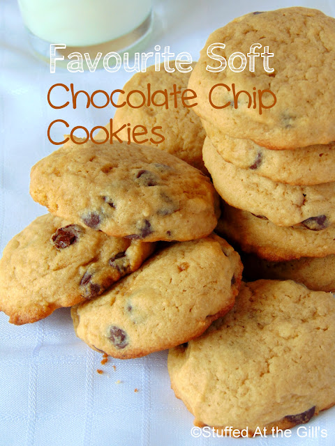 A pile of Favourite Soft Chocolate Chip Cookies.