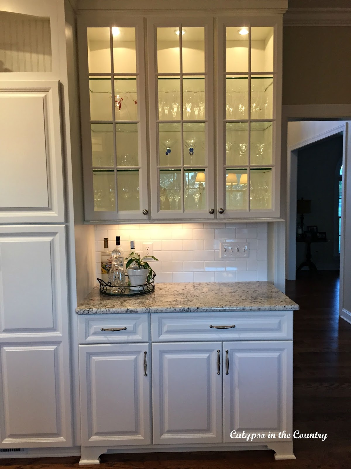 Glass Cabinets and full reveal of new white kitchen