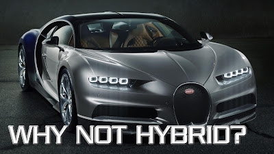 Picture of Bugatti car with text, 'Why not hybrid?'
