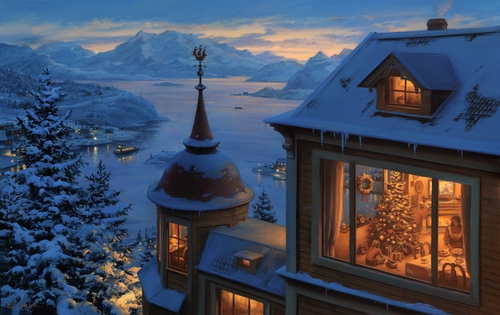 08-Coming-Home-for-Christmas-Evgeny-Lushpin-Scenes-of-Realistic-Night-Time-Paintings-www-designstack-co
