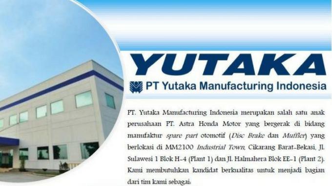 Lowongan Kerja Terbaru SMA/SMK Fresh Graduate PT Yutaka Manufacturing Indonesia