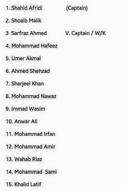 UPDATED SQUAD OF PAKISTAN On 7Th MARCH 2016 FOR T20 CRICKET WORLD CUP