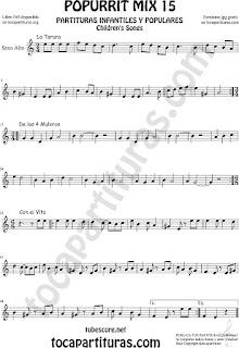 Partitura de Saxofón Alto y Sax Barítono Popurrí 15 La Tarara, De los 4 Muleros y Con el Vito Sheet Music for Alto and Baritone Saxophone