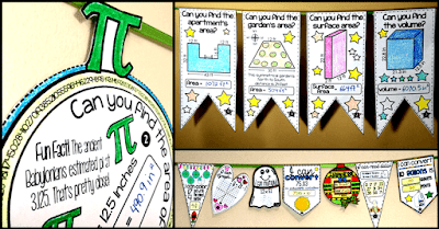 In this post, I want to show you some of the math pennants I've made over the years, many from teacher requests. To date, I've made over 100 math pennants, so they are not all in this post. But I picked out some of my favorites to show you.