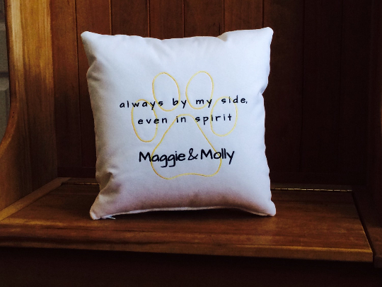 Always by my side even in spirit Personalized Pet Loss Pillow | Personalized for Two Sweet Dogs | Belinda Lee Designs