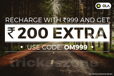 Recharge with 999 and get extra 200 ola money
