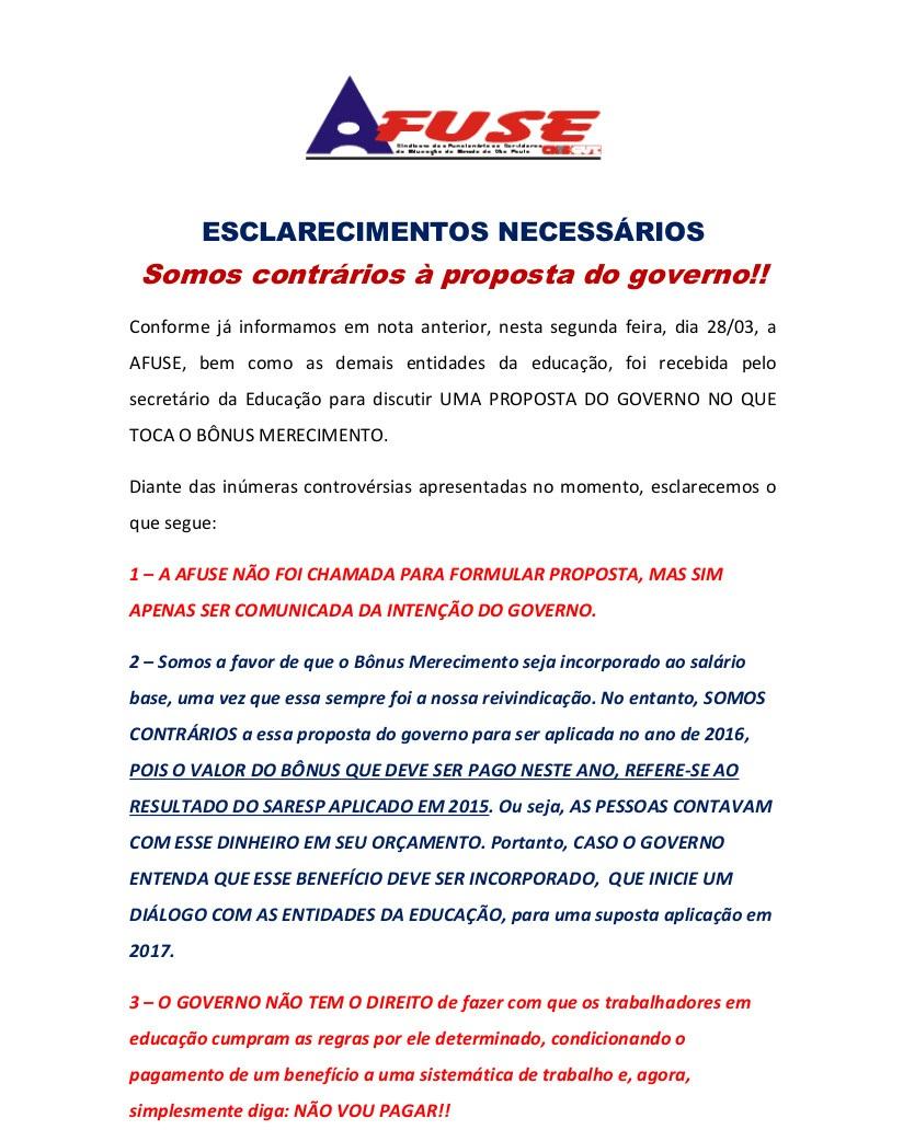 AFUSE - Esclarecimentos necessários - Somos contrários à proposta do governo!! (Cancelamento do Bônus e aumento no salário base de 2,5%) - Comunicado parte 1