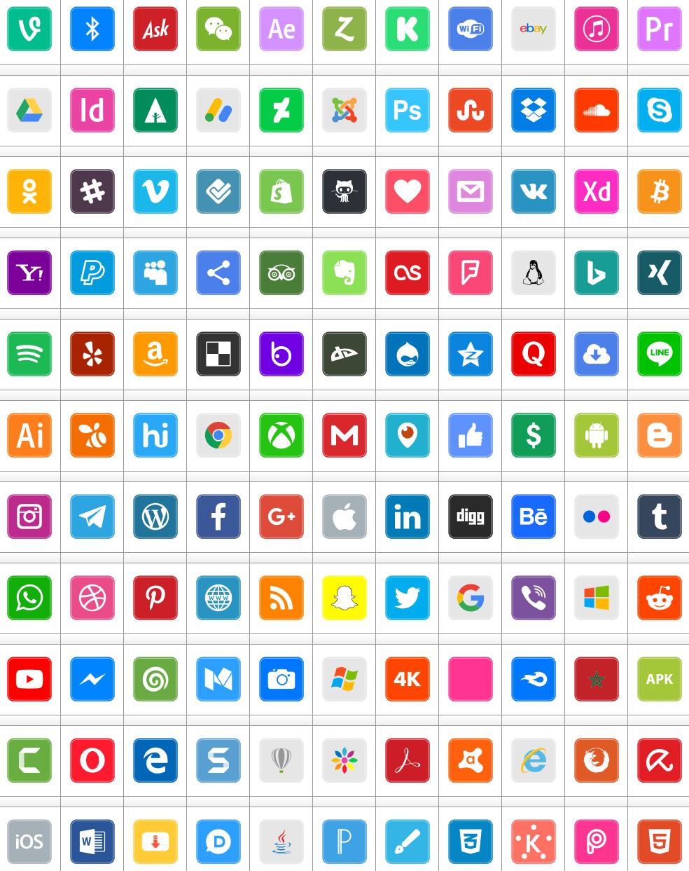Download Font Icons Social Media 7 Color #font #color ttf otf 120 #icons elharrak #fonts new 2019
