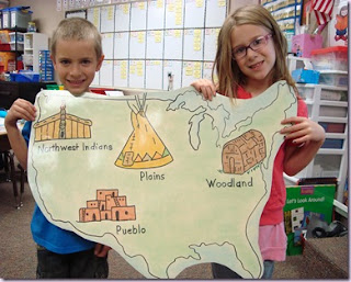 Teaching Native American history map activity for elementary students.