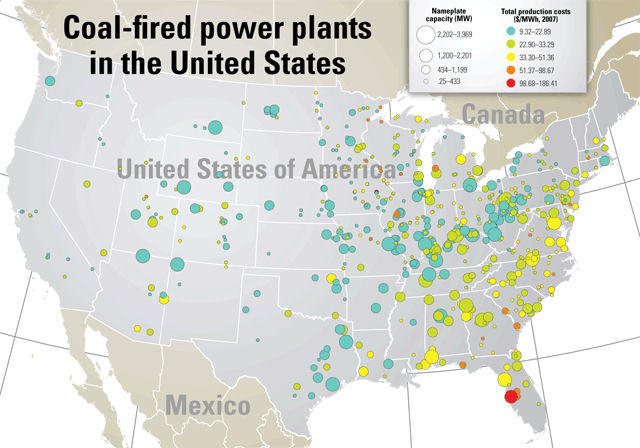An Objectivist Individualist CoalFired Power Plants Produce - Map of eastern half of us