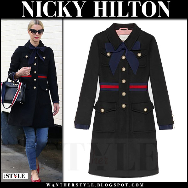 Nicky Hilton in black military style Gucci coat and red ballet flats what she wore streetstyle