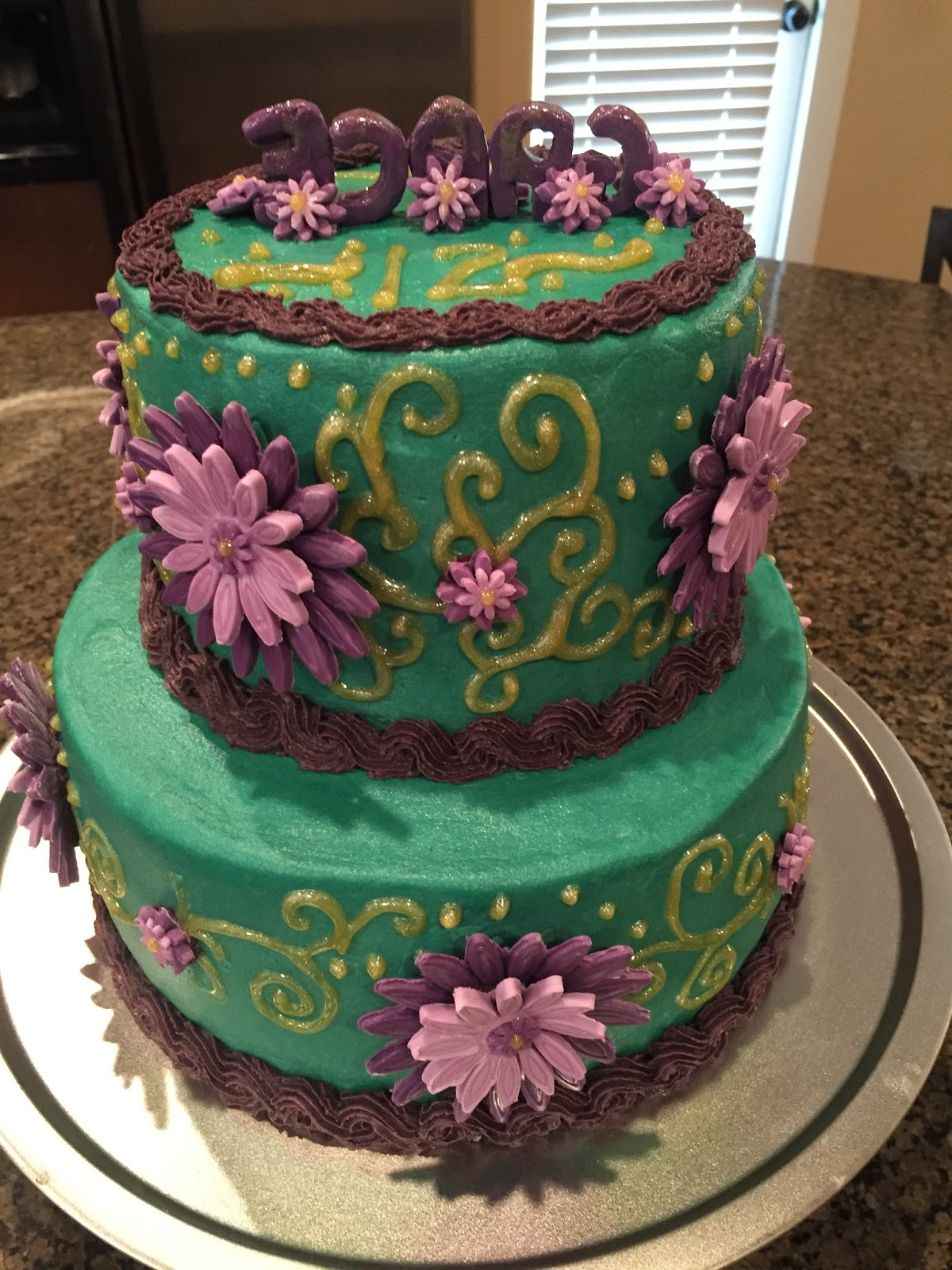 Cats Cake Creations Teal And Purple Birthday Cake With Gold