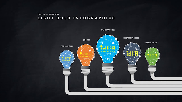 Infographic Free PowerPoint Templates with Light Bulb  Diagrams in Dark Background