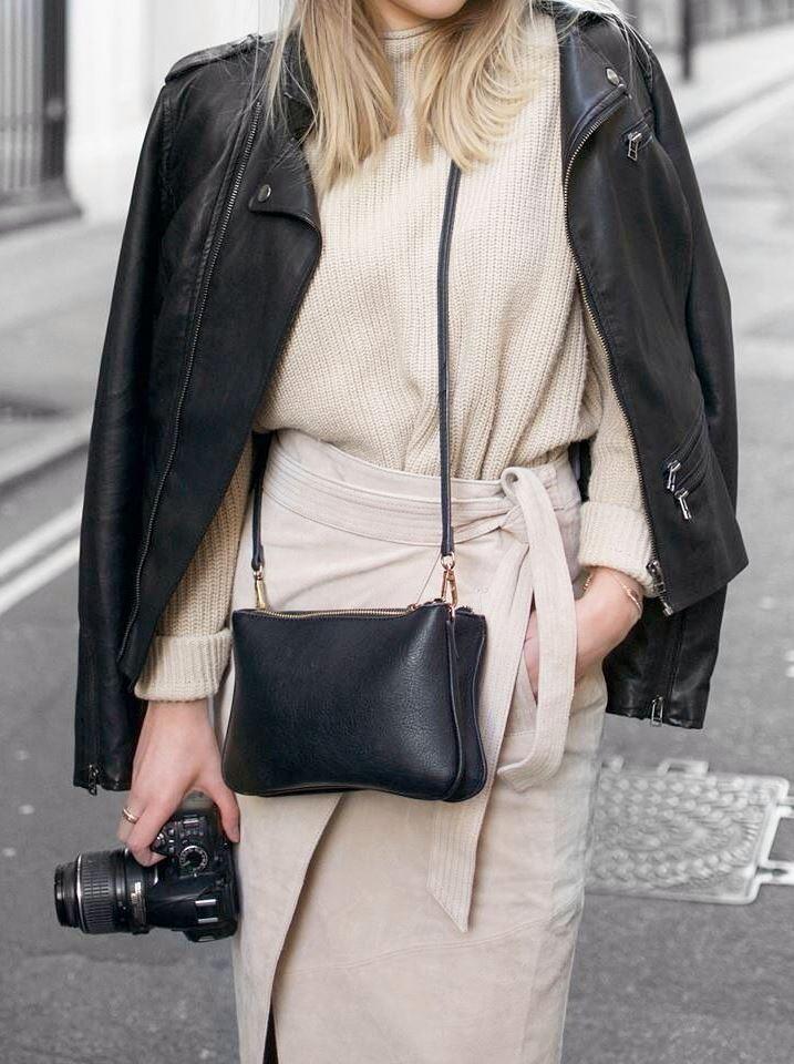 fall fashion trends / black biker jacket + bag + knit sweater + midi skirt