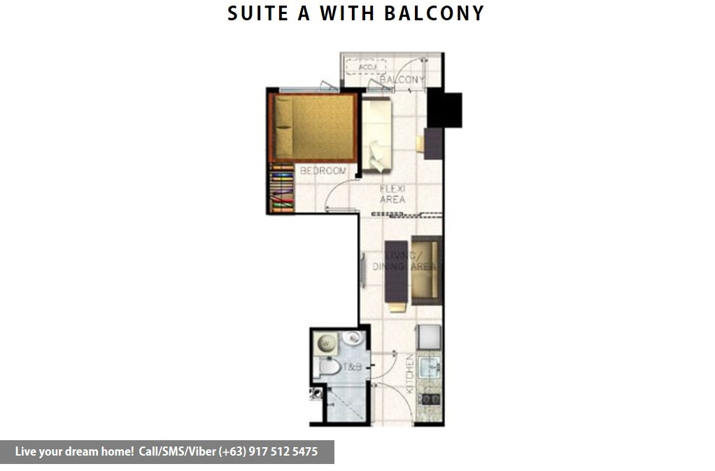 Floor Plan of SMDC S Residences - Family Suite A With Balcony | Condominium for Sale SM Mall of Asia Pasay