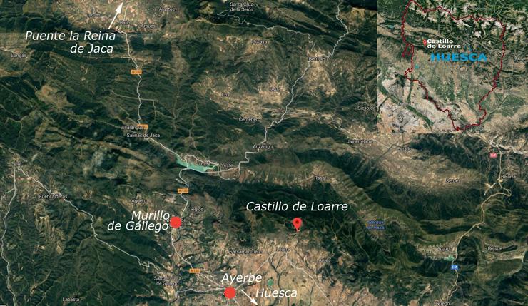 Situación del castillo de Loarre, en la provincia de Huesca