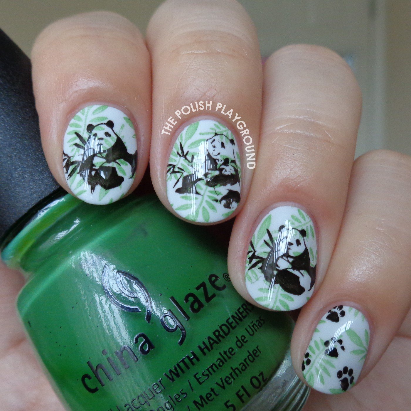 Pandas in the Forest Stamping Nail Art