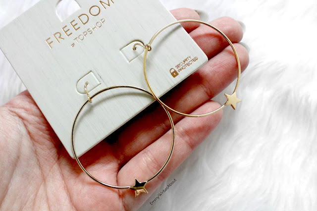 topshop gold hoop star earrings
