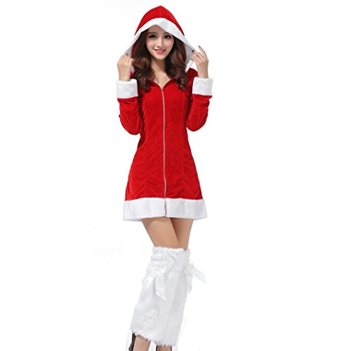 women christmas party dress franterd ladies santa costume cosplay suit 1 red