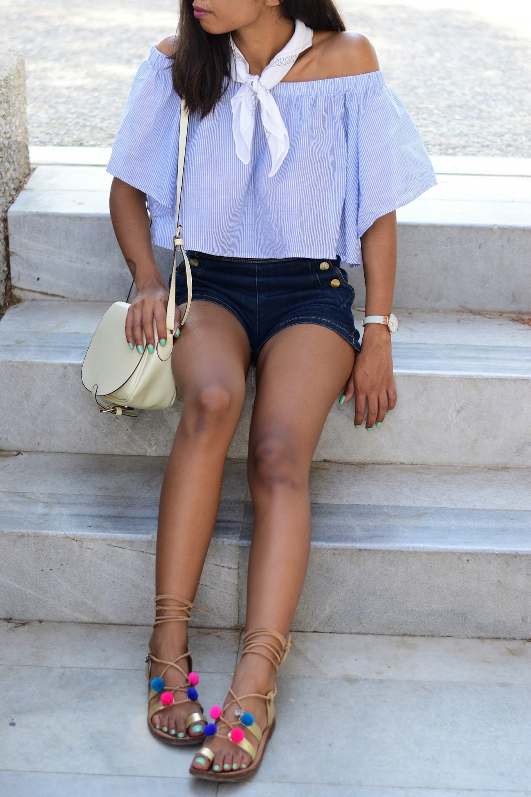 off shoulder striped top and high waisted shorts outfit inspiration