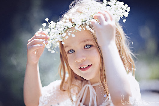 toddler portrait session with baby's breath crown