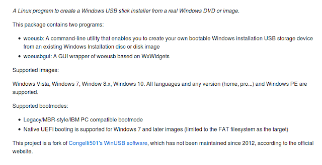 WoeUSB - cоздание установочного Windows USB-диска в Linux