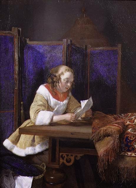 Senhora Lendo uma Carta - Gerard Terborch ~ Pintor Barroco ~ Holandês