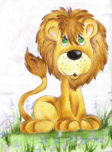 pintura em tecido toalha fralda leão