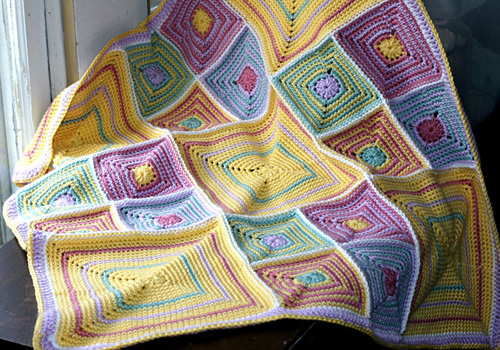 Circles, Stripes & Squares  Baby Blanket - Free Pattern