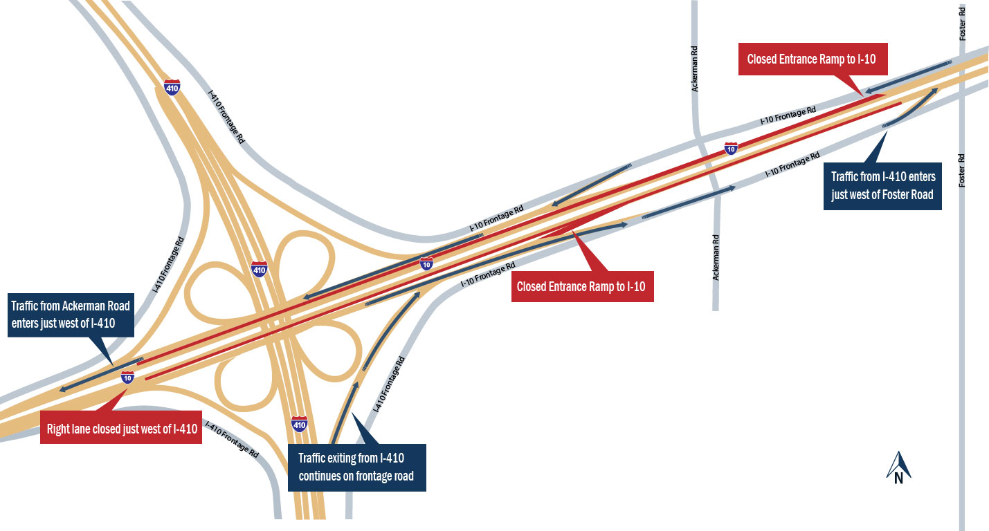 road through the ackerman road intersection proceed to the collector road then enter the freeway using the next entrance ramp see map below