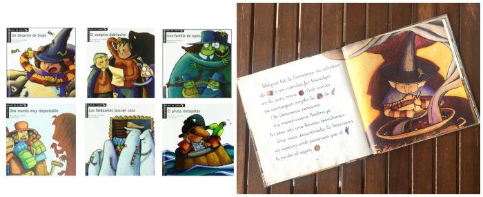 cuentos libros infantiles en letra ligada Colección malos de cuento edelvives