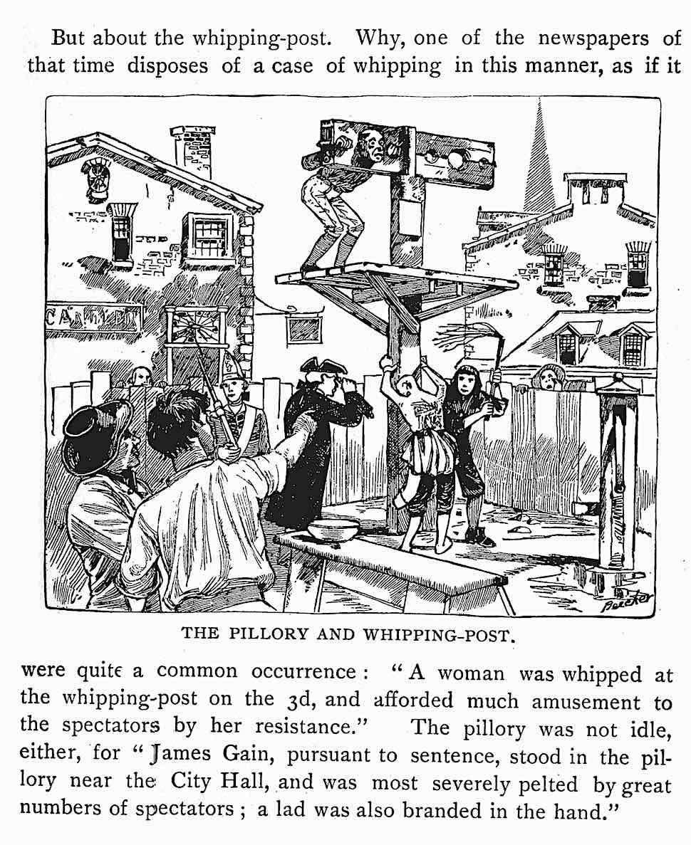 an illustration of 1700s USA public law, from an 1886 book. A man and woman are punished  and a boy's hand is branded. The pillory and whipping post